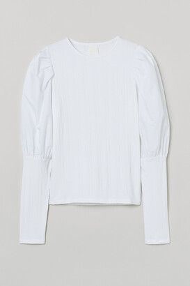 H&M Ribbed puff-sleeved top