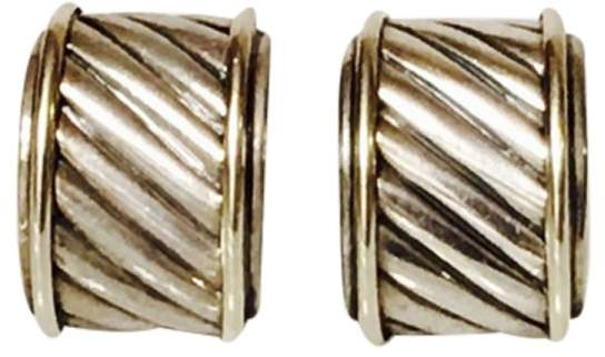 David Yurman Sterling Silver Thoroughbred Classic Cable Cigar Band Earrings