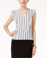 Marled Ruffled Striped Top