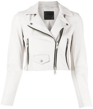 AllSaints Elora cropped biker jacket