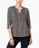 NY Collection Petite Gingham Roll-Tab Sleeve Top