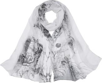 Tuopuda Ladies Chiffon Floral Printed Wrap Scarf Fashion Soft Long Silk Scarf Scarves Sheer Wrap Shawl For Women Ladies Teen Girls Mum's Gift-160cmx50CM (Blue)