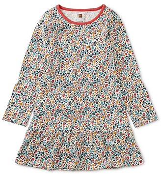 Tea Collection Girls' Casual Dresses Sunrise - Chalk Sunrise Floral Ruffle-Hem Drop-Waist Dress - Toddler & Girls