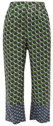 Biyan Pomelo Polka-dot Silk-twill Trousers - Green Multi