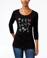 Karen Scott Holiday Tropical Graphic Top, Only at Macy's