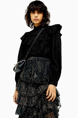 Topshop Womens Black Yoke Pintuck Blouse - Black