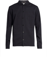 Lemaire Spread-collar cotton-blend shirt