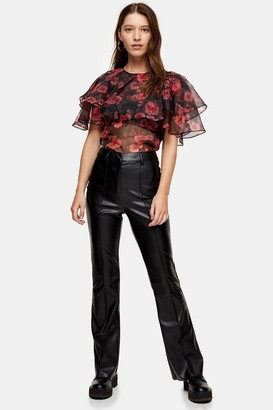Topshop Black Faux Leather PU Flared Trousers