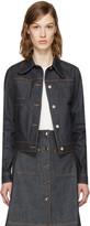 Carven Blue Denim Fitted Pockets Jacket