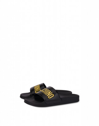 Moschino Pvc Slide Sandals With Logo Woman Black Size 36 It - (6 Us)