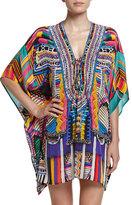 Camilla Embellished Lace-Up Silk Caftan Coverup, Woven Wonderland