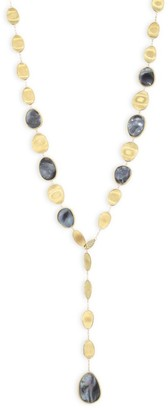 Marco Bicego Lunaria Long Lariat Necklace With Diamonds & Black Mother Of Pearl
