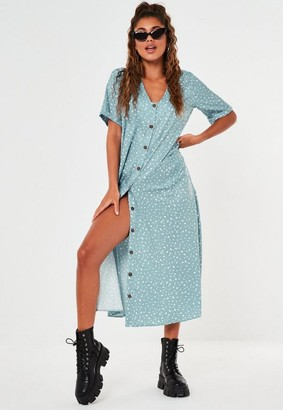 Missguided Sage Dalmatian Button Through Oversized Smock Midi Dress