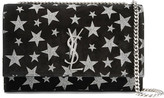 Saint Laurent Monogramme Kate Glittered Suede Shoulder Bag - Black