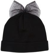 Federica Moretti Black Bow-embellished Wool Beanie