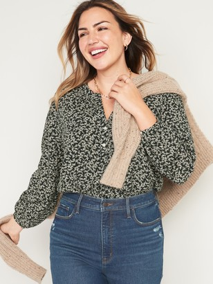 Old Navy Oversized Printed Split-Neck Blouse for Women
