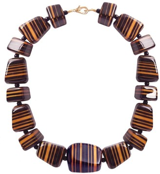 Pietrasanta Hand Painted Black Luxury Statement Necklace