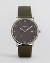 Skagen Hagen Leather Watch In Black Skw6306