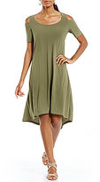 Jones New York Cold Shoulder Hi-Low Hem Trapeze Shift Dress