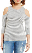 Democracy Stripe 3/4 Sleeve Cold-Shoulder Top