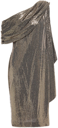 Badgley Mischka One-shoulder Draped Sequined Metallic Jersey Dress