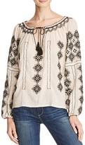 Love Sam Embroidered Peasant Top