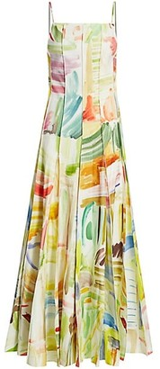 Rosie Assoulin Million Pleats Printed Gown