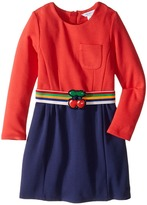 Little Marc Jacobs Milano Block Colors Dress with Cherry Detail Belt Girl's Dress