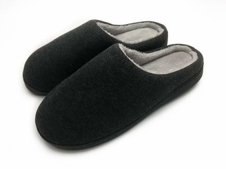 Athena Conti Men's Comfort Memory Foam House Slippers Classic Cotton Two Tone Micro-Terry Clog Slippers Autumn Winter Indoor/Outdoor Shoes Grey