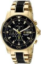 Akribos XXIV Men's AK857YGB Dodecagonal Black Dial Chronograph Quartz Gold Tone Bracelet Watch