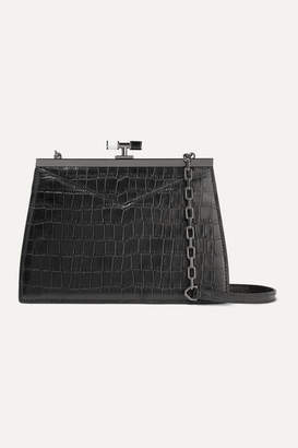 THE VOLON Chateau Glossed Croc-effect Leather Shoulder Bag - Black