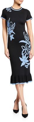 Shoshanna Leah Floral Jacquard Short-Sleeve Dress