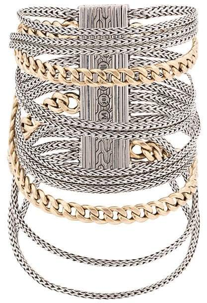John Hardy Adwoa Aboah 18kt Yellow Gold and Silver Classic Chain Multi-Row Bracelet