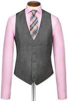 Grey Birdseye Travel Suit Wool Waistcoat Size W36 By Charles Tyrwhitt