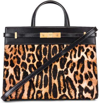 Saint Laurent Leopard Calf Fur Manhattan Shoulder Bag in Natural & Black | FWRD