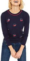 Oasis Cherry Embellished Knit Jumper, Navy