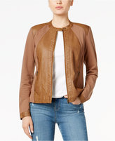 Style&Co. Style & Co Mixed-Media Faux-Leather Jacket, Only at Macy's