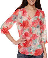 Liz Claiborne 3/4-Sleeve Butterfly-Back Shirt - Tall