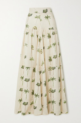 Agua Bendita Anis Tiered Printed Linen Maxi Skirt - Ivory