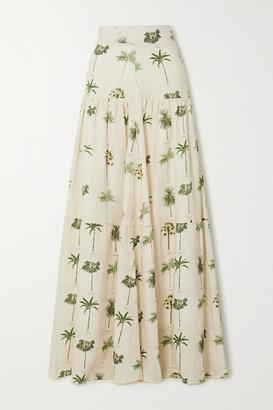 Agua Bendita Anis Tiered Printed Linen Maxi Skirt