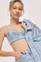 Topshop Crystal denim bralet