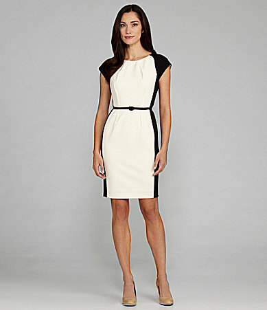 Maggy London Cap-Sleeve Colorblock Dress