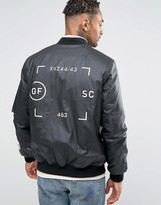 Asos Bomber Jacket In Waxed Cotton With Print