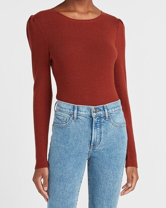 Express Fitted Ribbed Puff Sleeve Sweater