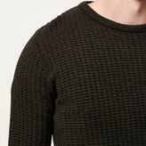 River Island MensGreen ribbed crew neck slim fit sweater
