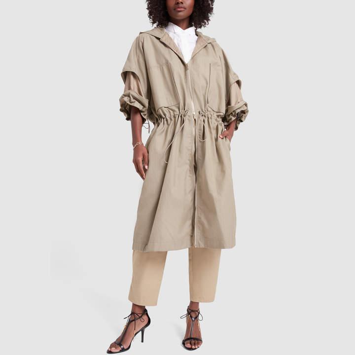 Stella McCartney Caban Washed Cotton Khaki Coat