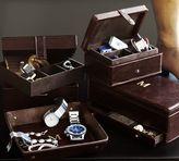 Pottery Barn Saddle Leather Square Jewelry Box