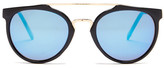Betsey Johnson Women&s Round With Metal Brow Bar Plastic Sunglasses
