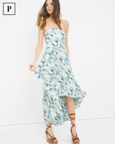 White House Black Market Petite Printed High-Low Fit-and-Flare Dress