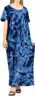 LA LEELA Everyday Essentials Women Hand Tie Dye Short Beach Dress Vintage Casual Midi Evening Loungewear Short Sleeve Daily wear Caftan Cover up Tunic One Size Large Size-14(M)-30(3XL) Navy Blue_C85